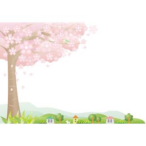フリーイラスト, ベクター画像, EPS, 風景, 花, 桜(サクラ), 樹木, 田舎, 村, 鶯(ウグイス), 春