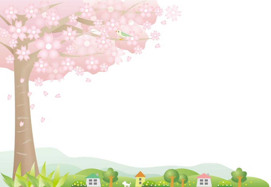 フリーイラスト 鶯と満開の桜の木のある田舎の風景