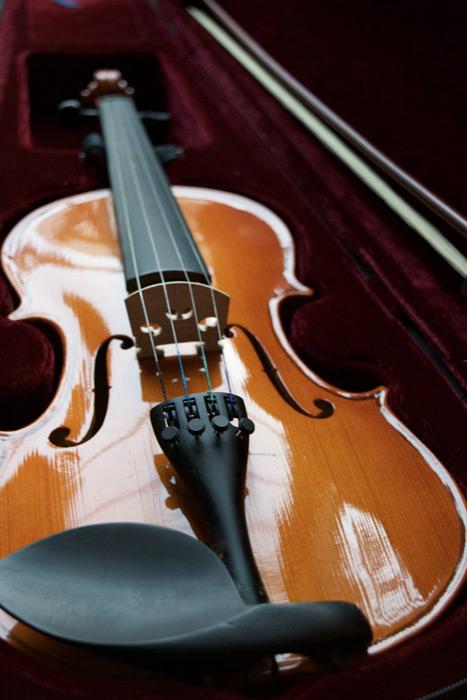 フリー写真 ケースに入れられたバイオリン