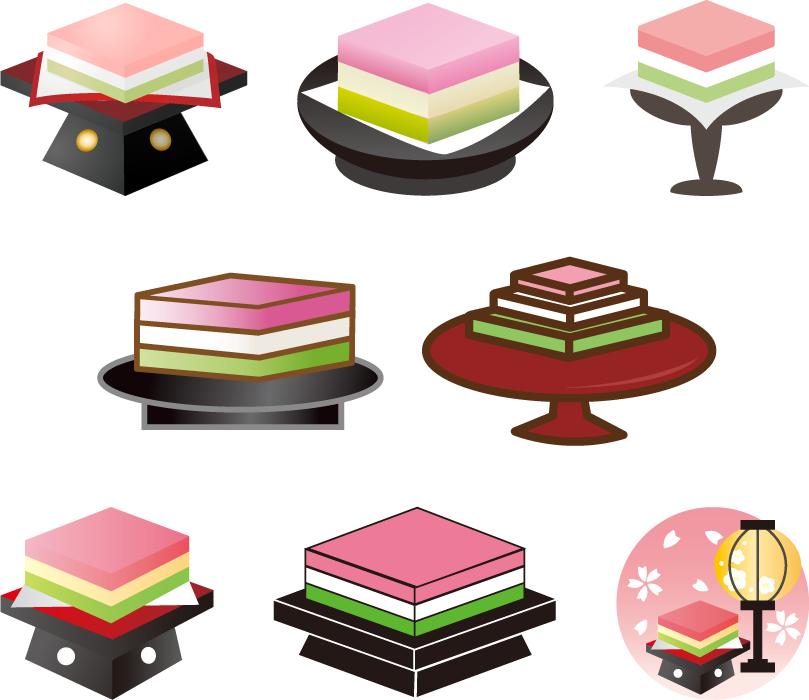 フリーイラスト 8種類の菱餅のセット