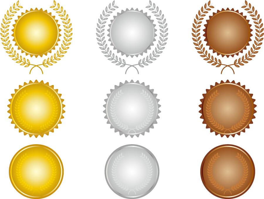 フリーイラスト 9種類の金銀銅メダルのセット