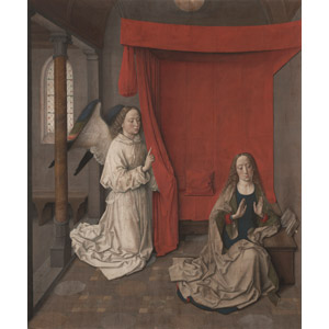 フリー絵画, ディルク・ボウツ, 宗教画, キリスト教, 新約聖書, 受胎告知, 聖母マリア, 大天使, ガブリエル