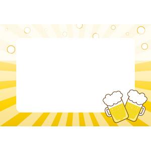 フリーイラスト, ベクター画像, EPS, 背景, フレーム, 囲みフレーム, 飲み物(飲料), お酒, ビール, ビールジョッキ, 放射線状