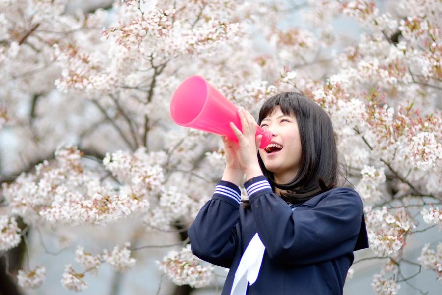 フリー写真 桜の花とメガホンで声援を送る女子高生