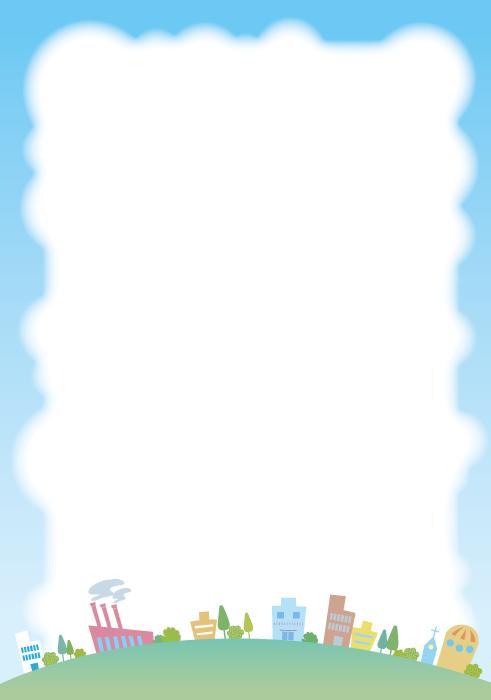 フリーイラスト 街並みと青空の飾り枠