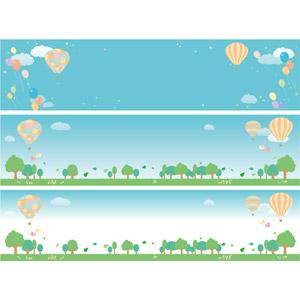 フリーイラスト, ベクター画像, AI, バナー, 熱気球, 風船, 紙吹雪, 青空, 樹木, 葉っぱ, 小鳥