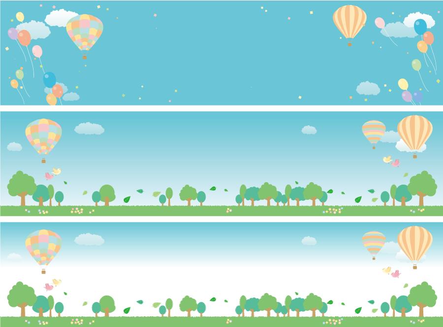フリーイラスト 3種類の熱気球の飛ぶ風景のバナーのセット