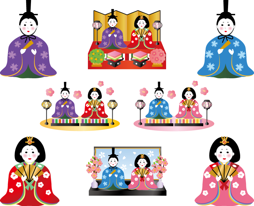 フリーイラスト 8種類の男雛と女雛のひな人形のセット