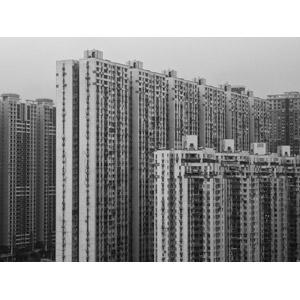 フリー写真, 風景, 建造物, 建築物, 高層ビル, 住宅, マンション(団地), 中国の風景, モノクロ