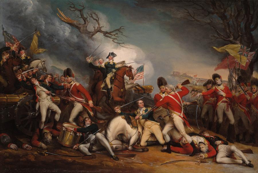 フリー絵画 ジョン・トランブル作「プリンストンの戦いでのマーサー将軍の死」