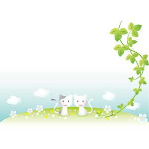 フリーイラスト, ベクター画像, EPS, 動物, 哺乳類, 猫(ネコ), カップル(動物), 蔦(ツタ)