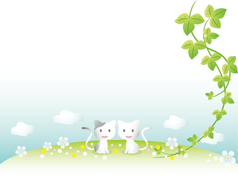 フリーイラスト 蔦と二匹の猫