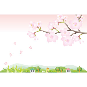 フリーイラスト, ベクター画像, EPS, 風景, 田舎, 村, 花, 桜(サクラ), 花びら, 枝, ピンク色の花, 春