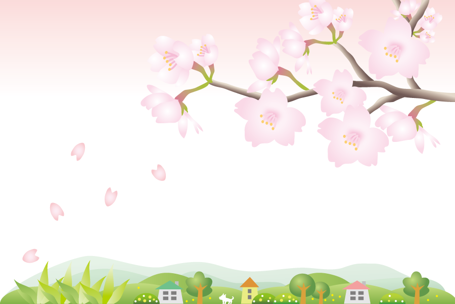 フリーイラスト 桜の花が咲く枝と田舎の風景