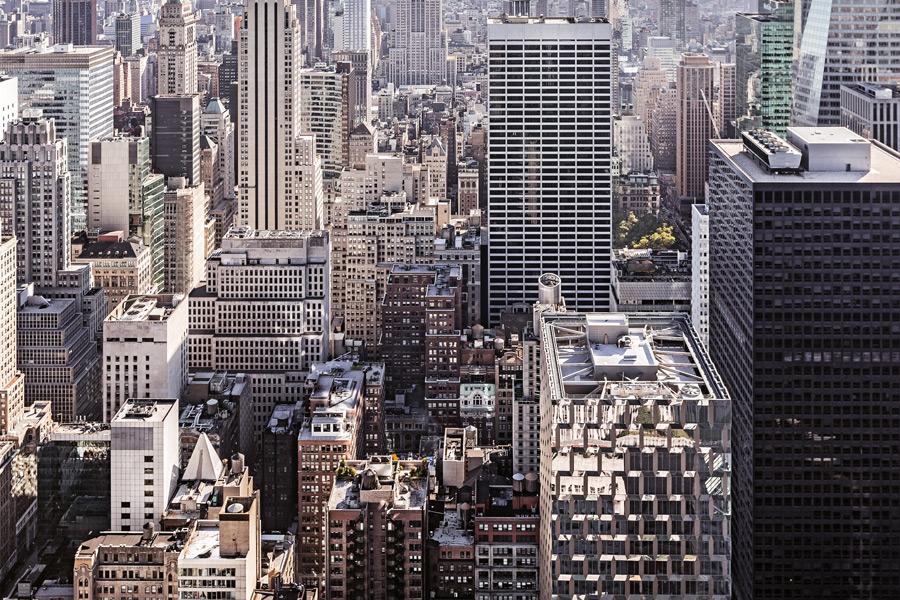 フリー写真 高層ビルの建ち並ぶマンハッタンの街並み