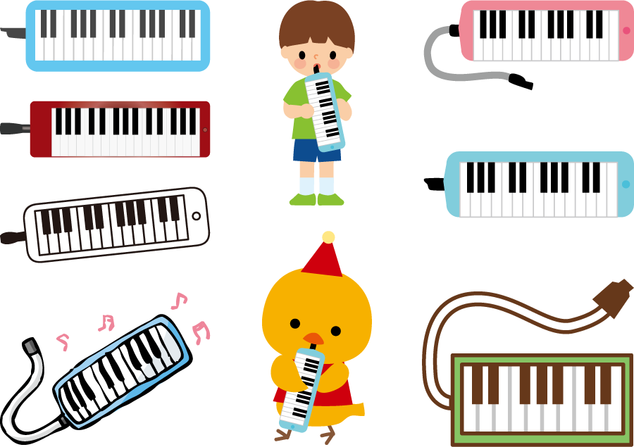 フリーイラスト 9種類の鍵盤ハーモニカのセット