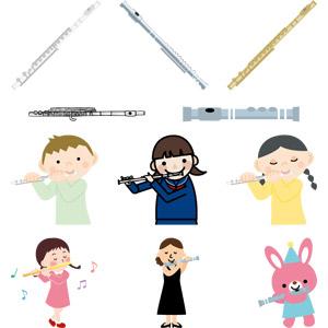フリーイラスト, ベクター画像, AI, 音楽, 楽器, 木管楽器, フルート, 人物, 子供, 男の子, 女の子, 少女, 演奏家, 女性, 演奏する, 兎(ウサギ)