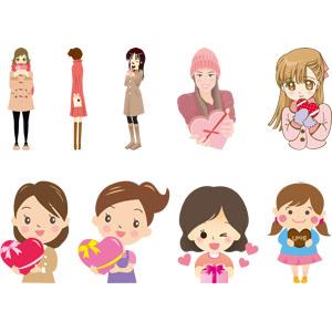 フリーイラスト, ベクター画像, AI, 年中行事, 2月, バレンタインデー, プレゼント, チョコレート, 人物, 女性, 少女, 女の子, 告白