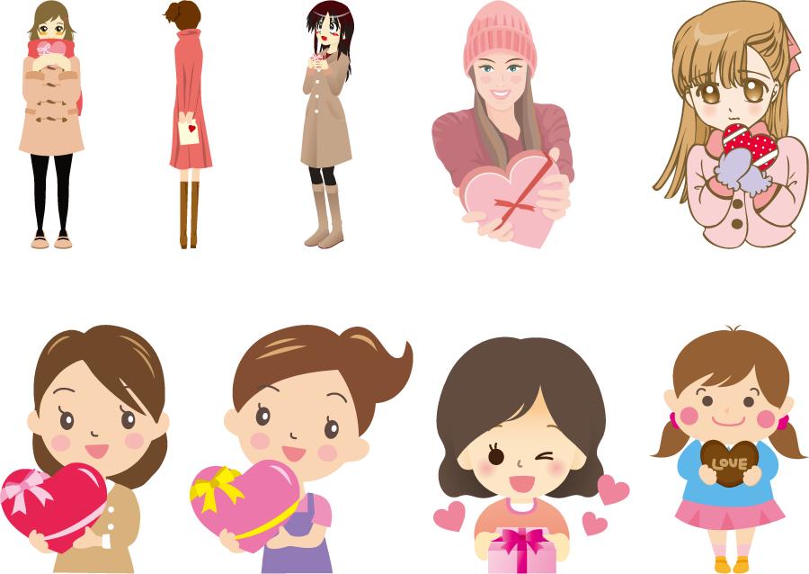 フリーイラスト 9人のバレンタインチョコを渡す女子のセット