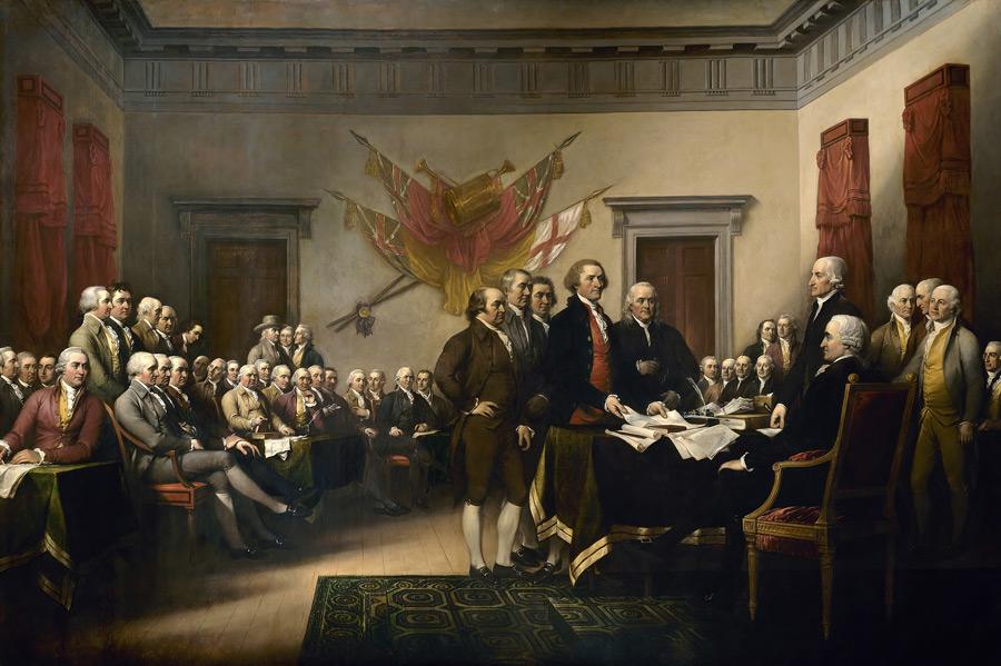フリー絵画 ジョン・トランブル作「アメリカ独立宣言」