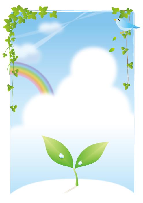 フリーイラスト 新芽と虹と青い鳥