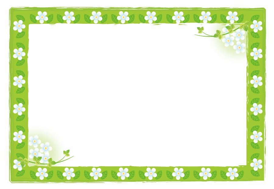 フリーイラスト 花と緑色の飾り枠