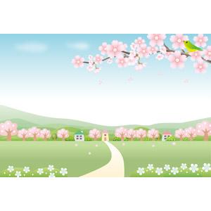 フリーイラスト, ベクター画像, EPS, 風景, 田舎, 村, 花, 桜(サクラ), 樹木, 枝, 鶯(ウグイス), 春