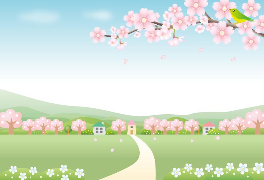 フリーイラスト 満開の桜の木と鶯と田舎の風景
