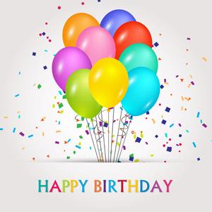 フリーイラスト, ベクター画像, AI, 背景, 誕生日(バースデー), ハッピーバースデー, 風船, 紙吹雪
