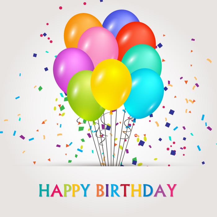フリーイラスト 風船と紙吹雪のお誕生日のお祝いの背景