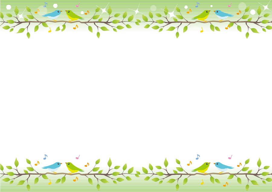 フリーイラスト 枝葉の上で歌う小鳥の飾り枠