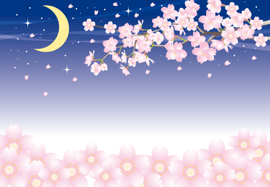 フリーイラスト 三日月と夜桜の背景