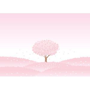 フリーイラスト, ベクター画像, AI, 風景, 自然, 樹木, 花, 桜(サクラ), 桜吹雪, ピンク色, 春
