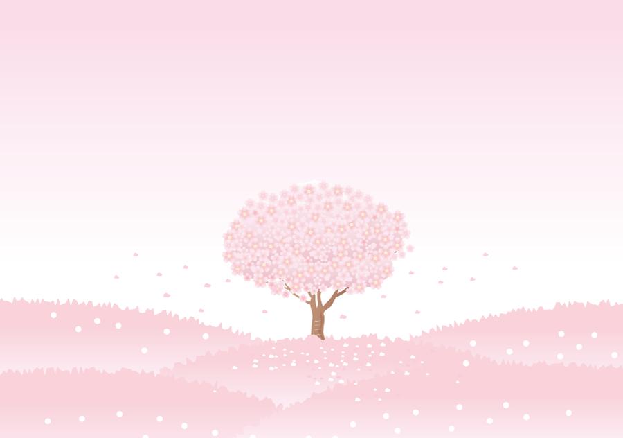 フリーイラスト 一面ピンク色の桜の木の風景