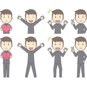 フリーイラスト, ベクター画像, AI, 人物, 少年, 少年(00130), 学生服, 学生(生徒), 高校生, 中学生, 学ラン, ハート, 万歳(バンザイ), 喜ぶ(嬉しい), 驚く, 衝撃(ショック), ピースサイン(Vサイン)