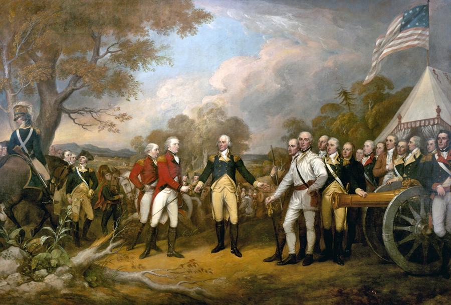 フリー絵画 ジョン・トランブル作「バーゴイン将軍の降伏」