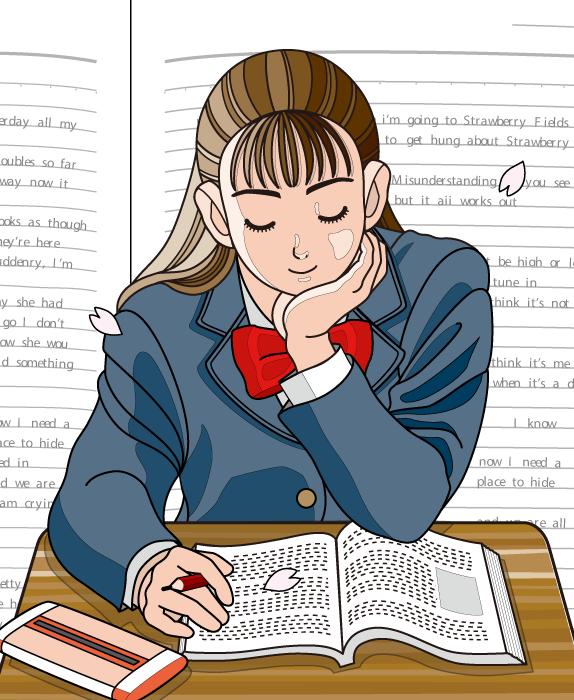 フリーイラスト 桜の花びらと英語の授業中の女子高生