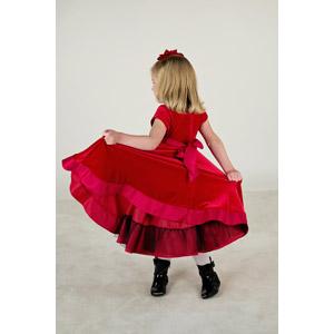 フリー写真, 人物, 子供, 女の子, 外国の女の子, ドレス, 後ろ姿