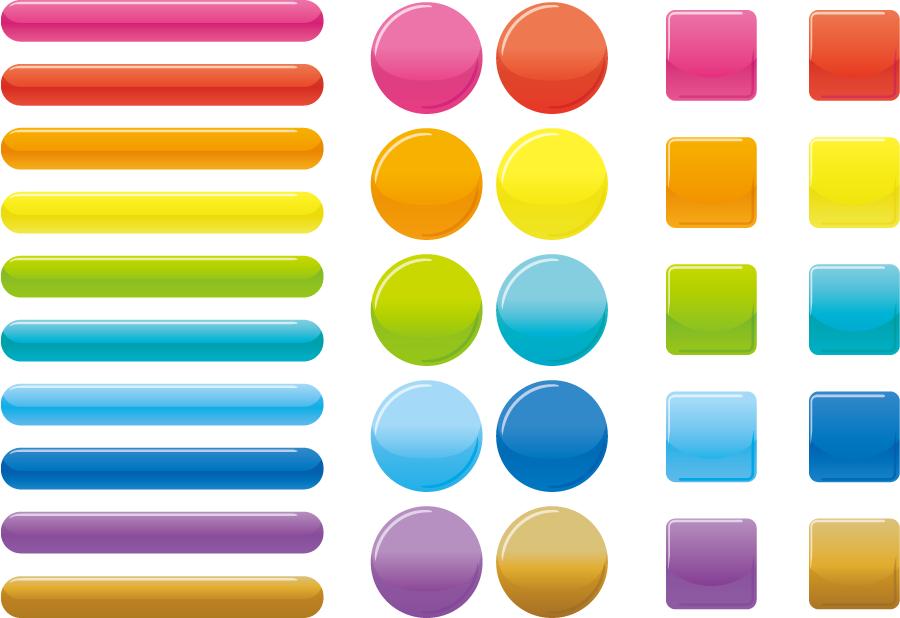フリーイラスト 30種類のカラフルなウェブボタンのセット