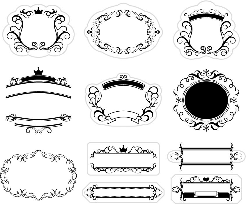 フリーイラスト 11種類のモノクロのラベル