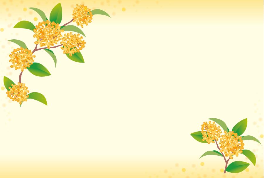フリーイラスト キンモクセイの花の飾り枠