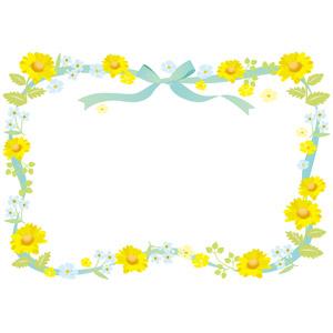 フリーイラスト, ベクター画像, AI, 背景, フレーム, 囲みフレーム, リボン, 蝶リボン, 植物, 花, 黄色の花