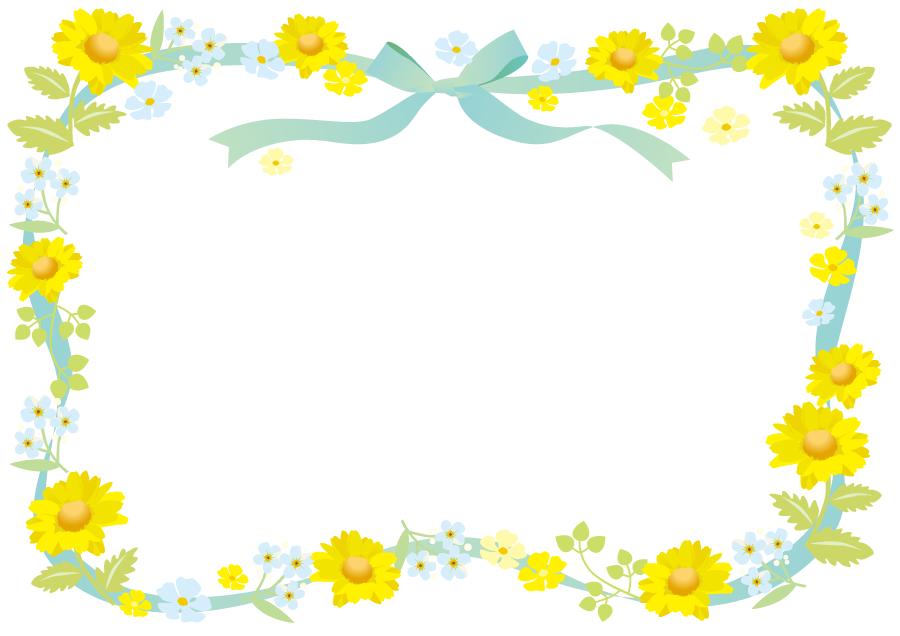 フリーイラスト 花とリボンの飾り枠