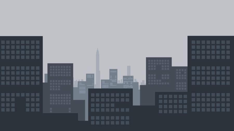 フリーイラスト 高層ビルの建ち並ぶ都会風景