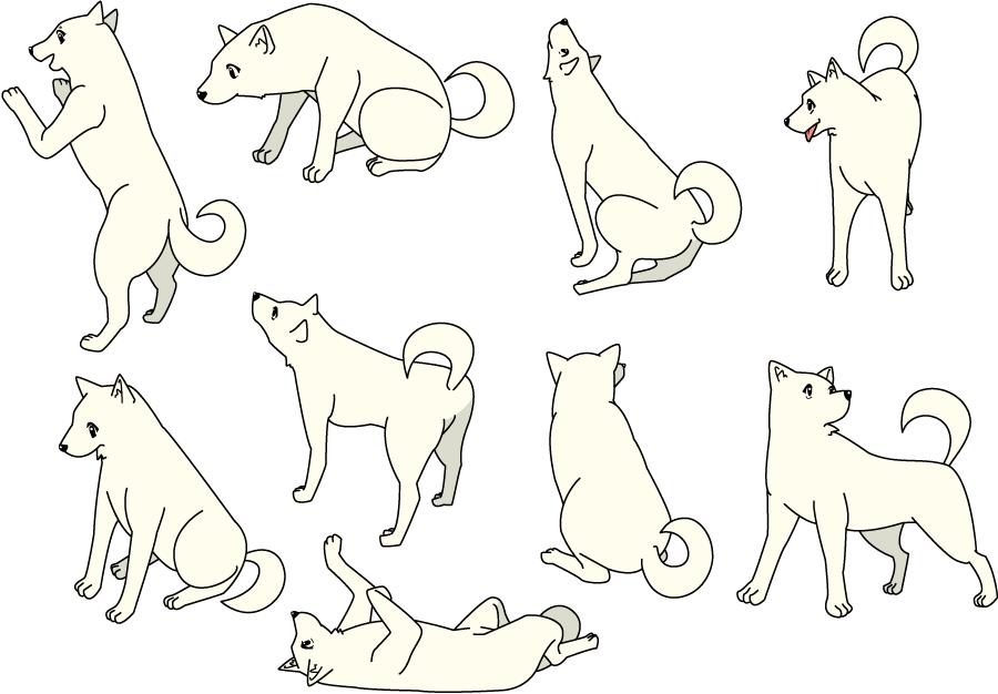 フリーイラスト 9種類のポーズの犬のセット