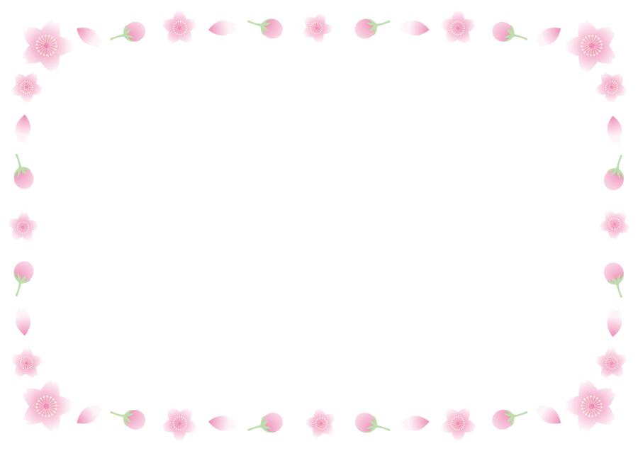 フリーイラスト 桜の蕾と花と花びらの飾り枠