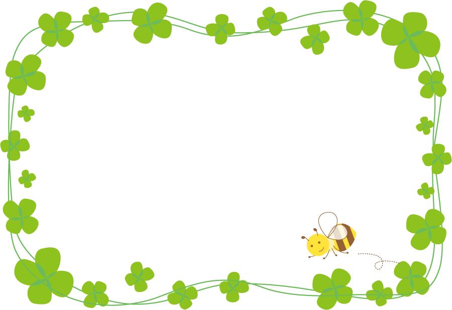 フリーイラスト 四つ葉のクローバーとミツバチの飾り枠