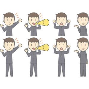フリーイラスト, ベクター画像, AI, 人物, 少年, 少年(00130), 学生服, 学生(生徒), 高校生, 中学生, 学ラン, 応援する, メガホン(拡声器), ガッツポーズ, 案内する