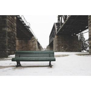 フリー写真, 風景, 建造物, 鉄橋, 雪, 冬, ベンチ, カナダの風景