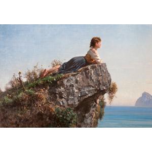 フリー絵画, フィリッポ・パリッツィ, 人物画, 少女, 外国の少女, 腹這い, 岩, 眺める, 横顔, 海